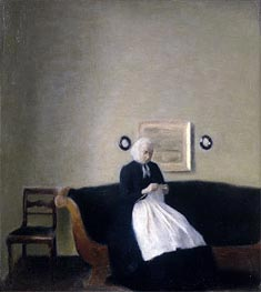 Interior with the Artist's Mother, 1889 by Hammershoi | Painting Reproduction