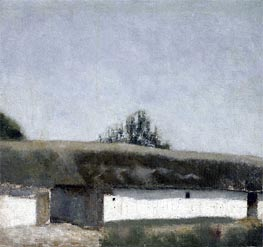 Landscape with Farm, 1883 by Hammershoi | Painting Reproduction
