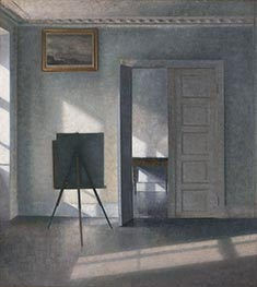 Interior with Easel, Bredgade 25, c.1910/13 by Hammershoi | Painting Reproduction