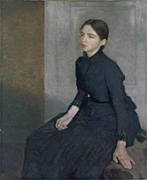 Portrait of a Young Woman. The Artist's Sister Anna, 1885 by Hammershoi | Painting Reproduction