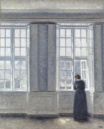 Interior, Woman at the Window, 1913 by Hammershoi | Painting Reproduction