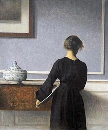Interior. Young Woman seen from Behind, c.1904 by Hammershoi | Painting Reproduction
