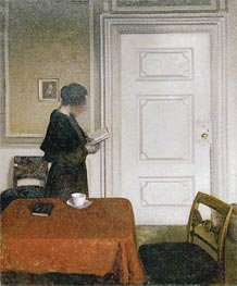 Woman Reading, 1908 by Hammershoi | Painting Reproduction