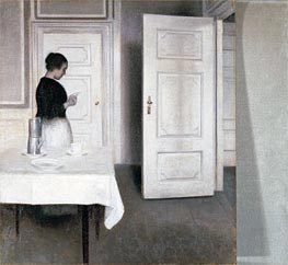 Interior with a Woman Reading a Letter, Strandgade 30, 1899 by Hammershoi | Painting Reproduction