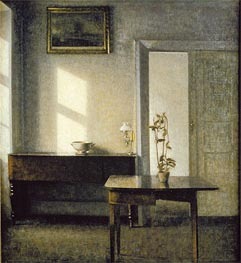 Interior with Plants on Cardtable, c.1910/11 by Hammershoi | Painting Reproduction