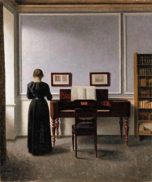 Interior. Living Room with Piano and Woman Dressed in Black, 1901 by Hammershoi | Painting Reproduction