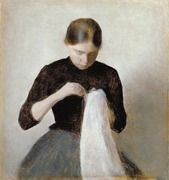 Young Girl Sewing, 1887 by Hammershoi | Painting Reproduction