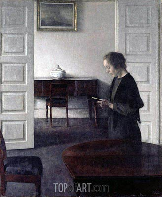 Interior with a Lady Reading, c.1900 | Hammershoi | Painting Reproduction