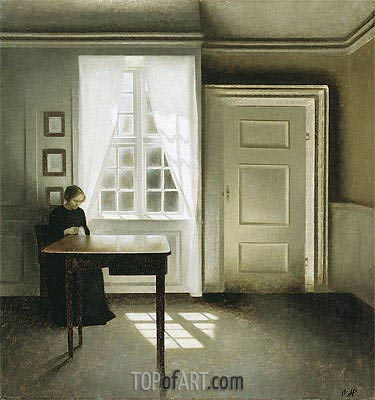 Interior with a Lady, 1901 | Hammershoi | Painting Reproduction