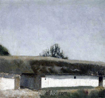 Landscape with Farm, 1883 | Hammershoi| Painting Reproduction