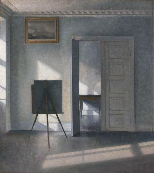Interior with Easel, Bredgade 25, c.1910/13 | Hammershoi | Painting Reproduction