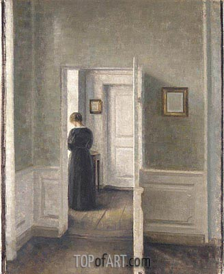 A Woman in an Interior, 1913 | Hammershoi | Gemälde Reproduktion
