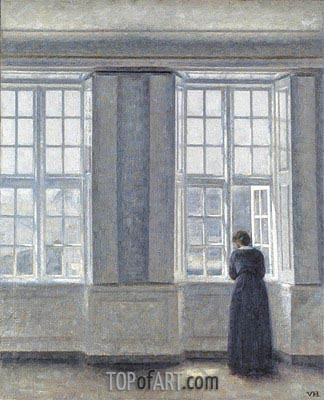 Interior, Woman at the Window, 1913 | Hammershoi | Gemälde Reproduktion