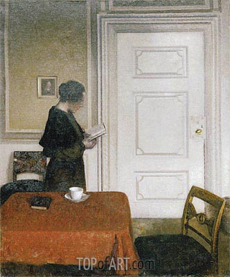Woman Reading, 1908 | Hammershoi| Painting Reproduction