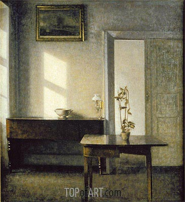 Interior with Plants on Cardtable, c.1910/11 | Hammershoi| Painting Reproduction