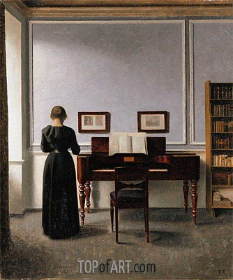 Interior. Living Room with Piano and Woman Dressed in Black, 1901 | Hammershoi| Painting Reproduction
