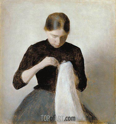 Young Girl Sewing, 1887 | Hammershoi | Painting Reproduction