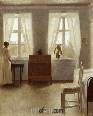 In the Bedroom,  | Hammershoi| Painting Reproduction