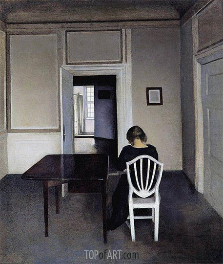 Hammershoi | Interior with Ida in a White Chair, 1900