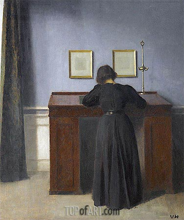 Ida Standing at a Desk, 1900 | Hammershoi| Painting Reproduction