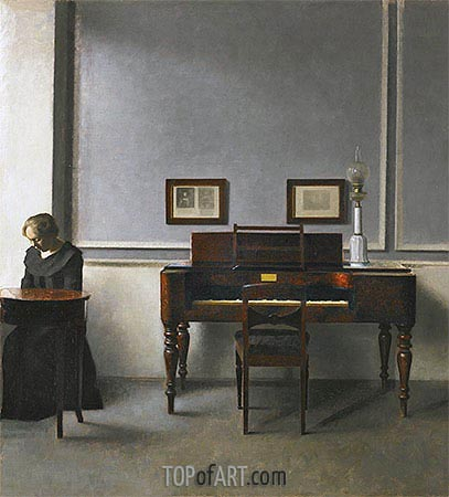 Ida in an Interior with Piano, 1901 | Hammershoi| Painting Reproduction