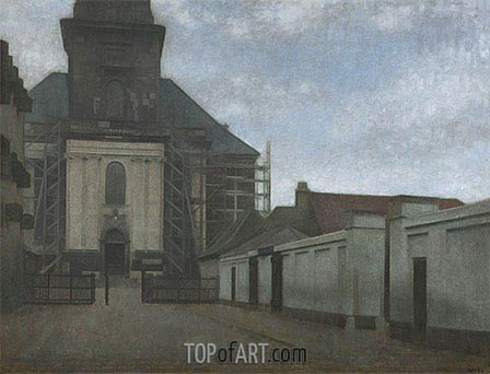 Strandgade with Christians Kirke in the Background, c.1907/08 | Hammershoi| Painting Reproduction