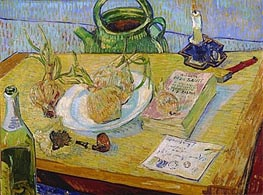 Still Life with a Plate of Onions, 1889 by Vincent van Gogh | Painting Reproduction