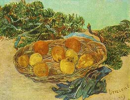 Still Life with Oranges, Lemons and Blue Gloves, January 18 by Vincent van Gogh | Painting Reproduction