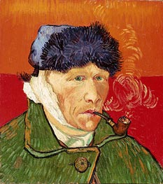 Self Portrait with Bandaged Ear and Pipe, 1889 by Vincent van Gogh | Painting Reproduction