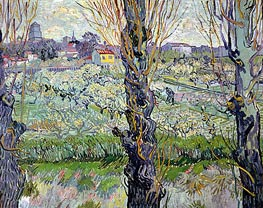 Orchard in Bloom with View of Arles | Vincent van Gogh | Painting Reproduction