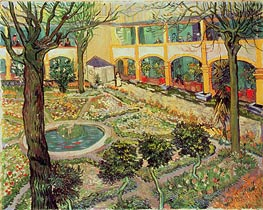 The Courtyard of the Hospital at Arles, 1889 by Vincent van Gogh | Painting Reproduction