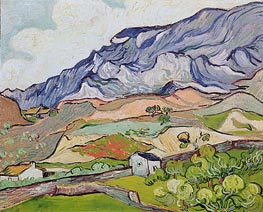 Les Alpilles, Mountainous Landscape, Saint-Remy, 1889 von Vincent van Gogh | Gemälde-Reproduktion