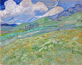 Berglandschaft hinter dem Krankenhaus Saint-Paul, 1889 von Vincent van Gogh | Gemälde-Reproduktion