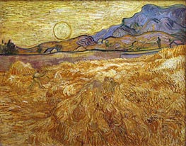 Wheat Field with Reaper and Sun, 1889 by Vincent van Gogh | Painting Reproduction