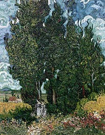 Cypresses with Two Female Figures, c.1889/90 by Vincent van Gogh | Painting Reproduction