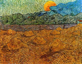 Landscape with Wheat Sheaves and Rising Moon, 1889 by Vincent van Gogh | Painting Reproduction
