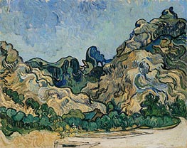 Mountains at Saint-Remy with Dark Cottage, 1889 von Vincent van Gogh | Gemälde-Reproduktion
