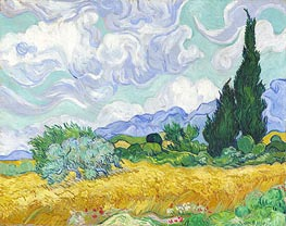 Wheatfield with Cypresses, 1889 von Vincent van Gogh | Gemälde-Reproduktion