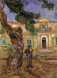 Pine Trees with Figure in the Garden of Saint-Paul Hospital, 1889 by Vincent van Gogh | Painting Reproduction