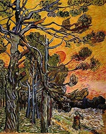 Pine Trees at Sunset  | Vincent van Gogh | Painting Reproduction