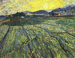 Enclosed Field with Rising Sun, 1889 by Vincent van Gogh | Painting Reproduction