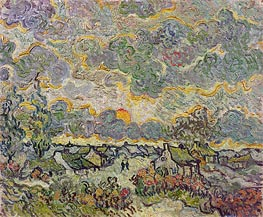 Cottages and Cypresses - Reminiscence of the North, 1890 by Vincent van Gogh | Painting Reproduction