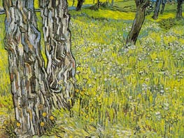 Pine Trees and Dandelions in the Garden | Vincent van Gogh | Painting Reproduction
