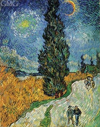 Road with Cypress and Star | Vincent van Gogh | Gemälde Reproduktion