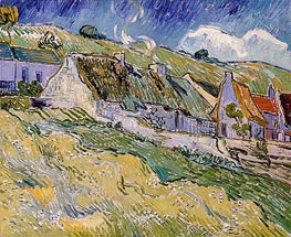 Cottages at Auvers-sur-Oise, 1890 von Vincent van Gogh | Gemälde-Reproduktion