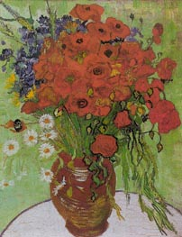 Still Life - Red Poppies and Daisies | Vincent van Gogh | Painting Reproduction