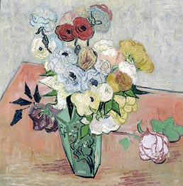 Still Life - Vase with Roses and Anemones, 1890 by Vincent van Gogh | Painting Reproduction