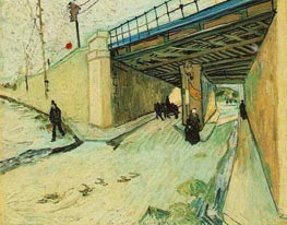 The Railway Bridge oner Avenue Montmajour, Arles, October 18 by Vincent van Gogh | Painting Reproduction