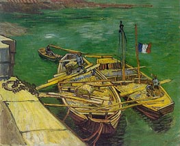 Quay with Men Unloading Sand Barges, August 188 von Vincent van Gogh | Gemälde-Reproduktion