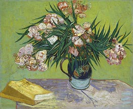 Still Life - Vase with Oleanders and Books, 1888 von Vincent van Gogh | Gemälde-Reproduktion